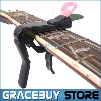 Alice Black Capo For Acoustic Electric Classical Guitar Cappo On Guitarra With Pick Holder New