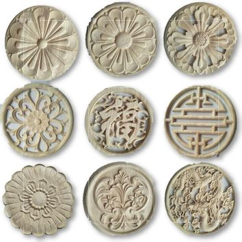 2pcs/lot Wood Carved Natural Appliques for Furniture Cabinets Unpainted