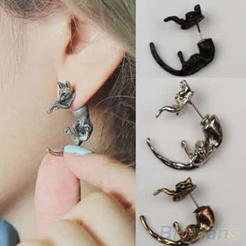 Long Tail Small Leopard Cat Puncture Girls And Boys Stud Earrings