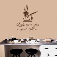 Wall Decals Quotes Life Begins After a Cup of Coffee Decal Coffee Maker Kitchen Cafe Coffee House Shop Store Vinyl Sticker  Home Decor ML110