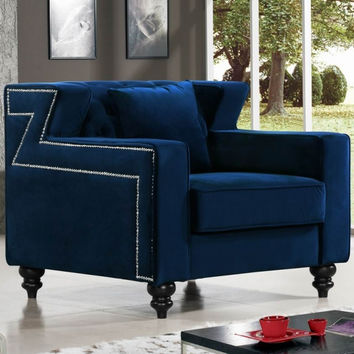 Harley Navy Velvet Chair