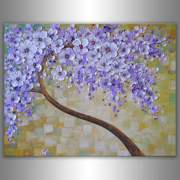 Textured Art Original Contemporary Fine Art Abstract Blooming Tree Painting Palette Knife Artwork 18x24 Float Canvas Home Office Wall Art