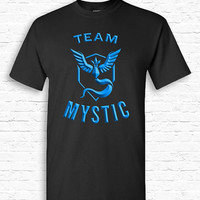Team Mystic Pokemon Go T-shirt Tshirt Tee Shirt Catch em All Funny Cute Nerd Gift for Geek App Teenager Valor Instinct Metallic Style TF-176