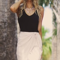 Twist Around Wrap Skirt Ecru