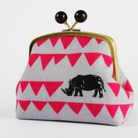 Color bobble pouch - Echino black rhinos - metal frame clutch bag