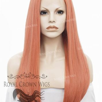"""24"""" Heat Safe Synthetic Straight Texture Lace Front """"Aphrodite"""" in Rose Gold"""