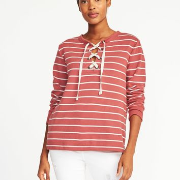 Relaxed Lace-Up French-Terry Sweatshirt for Women |old-navy