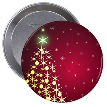 Merry Christmas. Holiday decorated trees Button