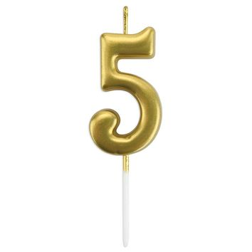 Gold Number 5 Birthday Candle