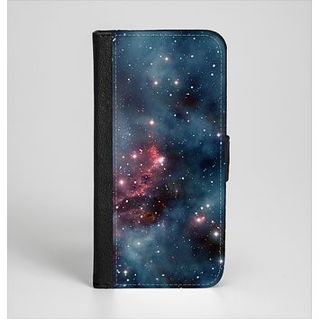 The Bright Pink Nebula Space Ink-Fuzed Leather Folding Wallet Case for the iPhone 6/6s, 6/6s Plus, 5/5s and 5c