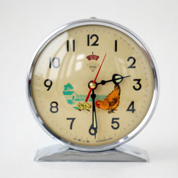 Vintage Mechanical Alarm Clock / Manual Winding Alarm Clock / Made in Shanghai China / 70s 80s Retro Eames Era Watch Home Decor
