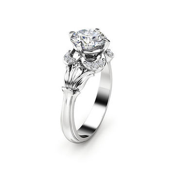 Moissanite Engagement Ring White Gold Ring Leaf Engagement Ring Halo Moissanite Ring