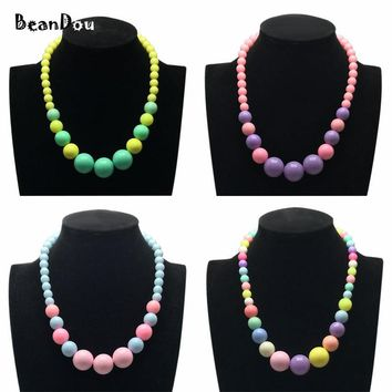 Fashion Lovely Beaded Necklace Short Chokers Necklace For Kid Girls Children's Jewelry 40cm 16inch 4 Candy Colors Free Shipping