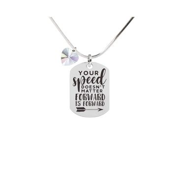 Inspirational Tag Necklace In AB Made With Crystals From Swarovski  - FORWARD IS FORWARD