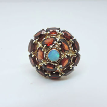 Vintage Custom Made Garnet and Opal Large Cocktail Ring set in 14KY