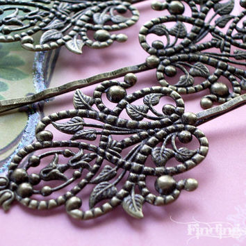 6X - antiqued bronze vine victorian filigree bobby pin hair clips