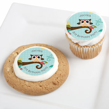 Birthday Party Edible Cupcake Toppers - Owl - Look Whooo's Having A Birthday