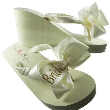 Bridal Bride Flip Flops,  Shop our large selection of wedding flip flops for Bride, Bridesmaids, flats wedges, ivory white, all sizes