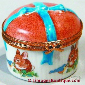 Round W/Bow - Rabbit Decal Limoges Boxes