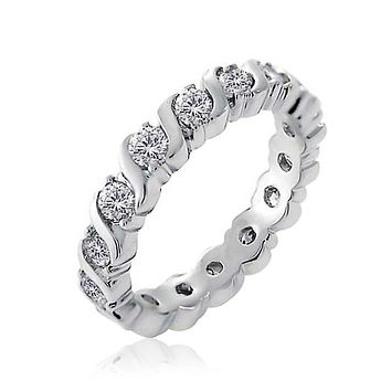 CZ Band Wave Set Eternity Wedding Band Ring 925 Sterling Silver