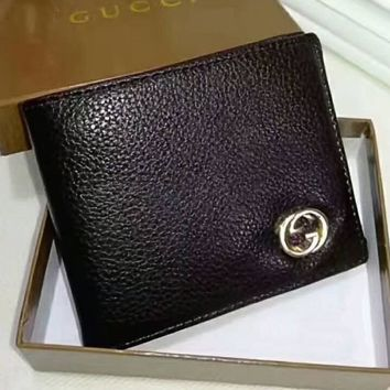 Gucci Men Wallets Fashion Trending Leather Male Purse Small Wallets Money Bag Brown G-LLBPFSH