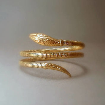 ANDREAS DAUB Antique Gold SNAKE Bangle Bracelet Serpent Bracelet Art Deco Snake Bracelet, Rolled Gold Filled Triple Coil Band c.1920's
