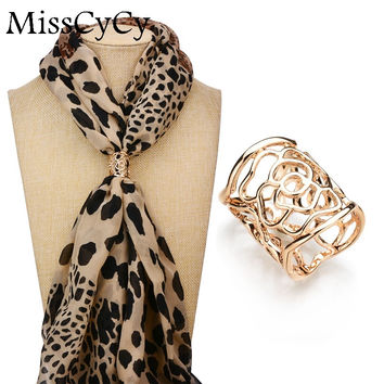 MissCyCy New Arrival Vintage Brooch Gold - Plated Scarf Clip Hollow Rose Flower Brooches For Women Gift