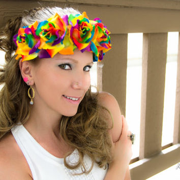 Dark Rainbow Rose Flower Crown, Flower Headband, Pride Headband, St Patrick's Day Outfit, Coachella, Electric Daisy Carnival, Burning Man