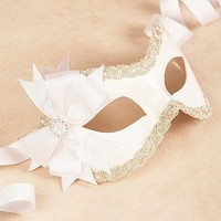 Mia White/Silver masquerade mask /req37430 by partymask on Etsy