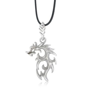 New Fashion Men Necklace Silver Stainless Steel Dragon Pendant Necklace With Leather Chain For MEN