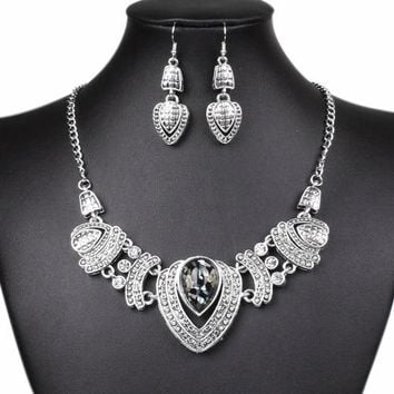 nigerian african Women's Vintage Rhinestone Choker Chain Necklace Earrings Wedding Jewelry Set ethiopian womens costume jewelry