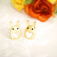 Womens Animal Bunny Earrings Rabbit Lovely Heart Stud Earrings Mother-of-Pearl Heart Gold Plated Nickel Free