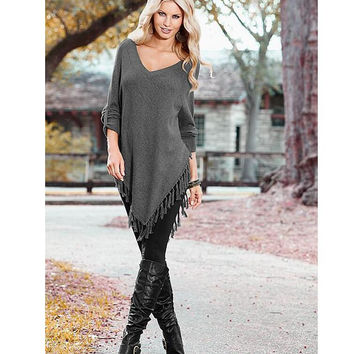 Gray V-Neck Fringed Asymmetric T-Shirt