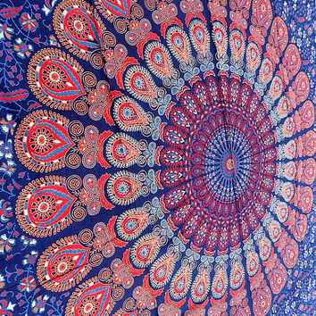 BIG blue mandala hippie tapestry, hippie wall hanging tapestries, bohemian tapestries, queen mandala home decor