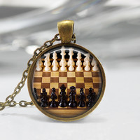 Chess Game  Glass Pendant - Chess Jewelry - Chess Game Necklace - Art Pendant - Chess Necklace - Chess Charm,Game Pendant