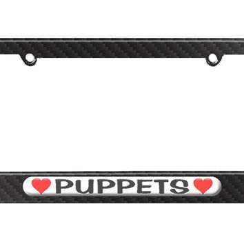 Puppets Love with Hearts License Plate Tag Frame - Carbon Fiber Patterned Finish