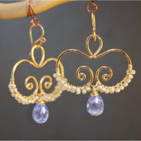 Nouveau 134 Hammered swirls with ivory pearls and topaz