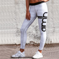 Hot Sale Women's Fashion Pants Print Alphabet Yoga Sports Leggings [9631630223]