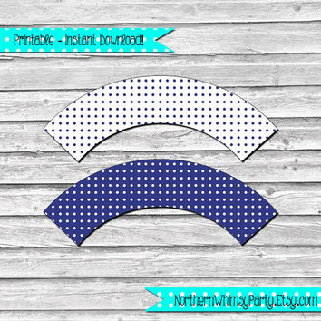 Indigo Blue and White Polka Dot Printable Cupcake Wrapper Set –  DIY printable party supplies – birthdays & showers - INSTANT DOWNLOAD