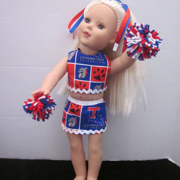 American Girl 18 Inch Doll Cheer Uniform Using Louisiana Tech Material Baby Doll Clothes Doll Cheer Outfit By Sweetpeas Bows & More