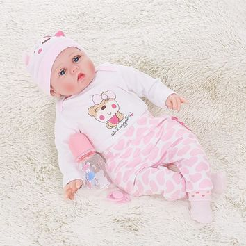 Silicone Reborn Baby Doll With Rooted Hair Clothes Diaper