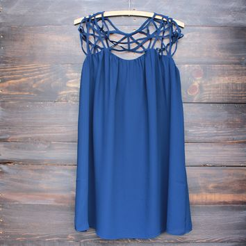 caged up flowy chiffon dress in navy