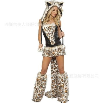 Leopard Cat Suit Costume With Tail - Cosplay Costume For Women