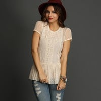 Sale- Ivory Girl Next Door Lace Peplum Top