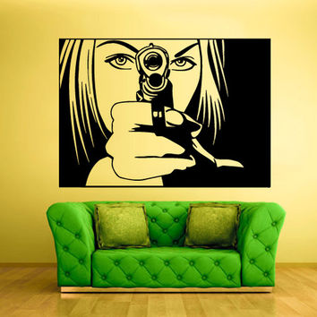 rvz338 Wall Vinyl Sticker Bedroom Wall Decal Decal Portrait Girl with Gun