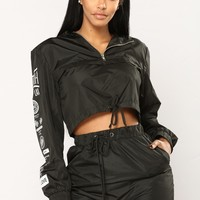 Streetwear Graphic Lounge Windbreaker - Black