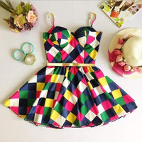 Multicolor plaid sleeveless dress