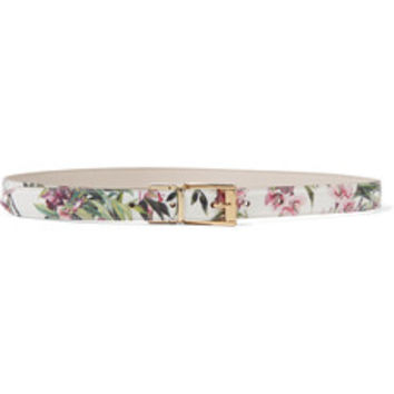 Dolce & Gabbana Floral-print patent-leather belt – 55% at THE OUTNET.COM