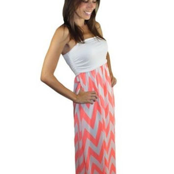 Medium Neon Coral Pink HOT Chevron White Maxi Dress Tube Strapless Chiffon