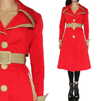 70's Red Trench Coat Belted Fit and Flare Maxi Mod Hipster 90s Style Clothing Winter Outerwear Womens Size Small